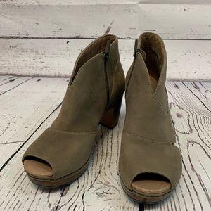 Dansko Delphina peeptoe ankle booties heel sandals
